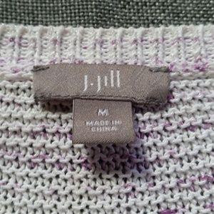 J. Jill Sweaters - J. Jill White Purple Cardigan Sz Medium